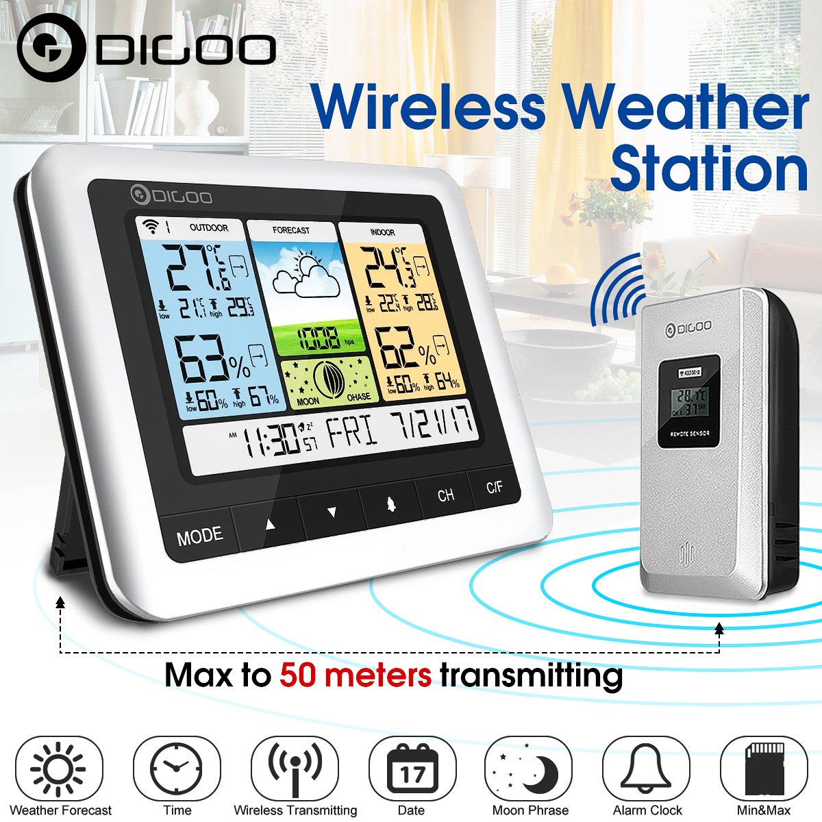 Digoo DG-TH8888 Outdoor Weather Station Clock + Forecast Sensor USB Wireless Digital Thermometer Humidity Meter 3CH Moon Phrase