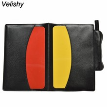 Velishy 1PC Red Yellow Personalized Hot Referee Card Pencil Notebook Holder Sheet Set Note Notebook(China)