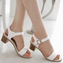 Womens Low Chunky Heel Single Belt Buckle PU Sandals Shoes Footwear White beige Pink Plus Size Big SZ 33 - 46