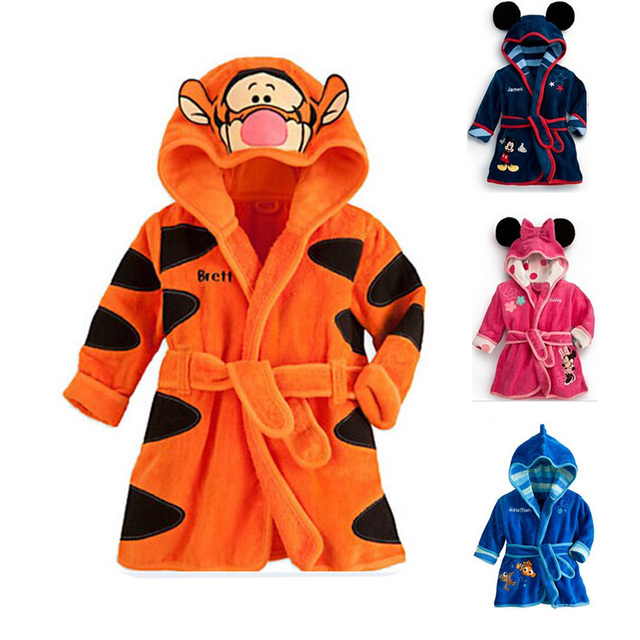 Moda diseños con capucha animal modelado bebé albornoz bebé de la historieta carácter kids bath robe towel toallas de playa infantil