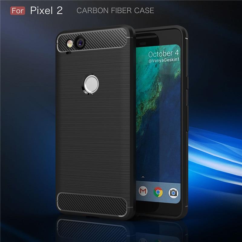 Anti-Fingerprint Back Cover Case For Google Pixel 2 / 2 XL 3 / 3XL Luxury Brushed Carbon Fiber Soft TPU Shockproof Coque Fundas