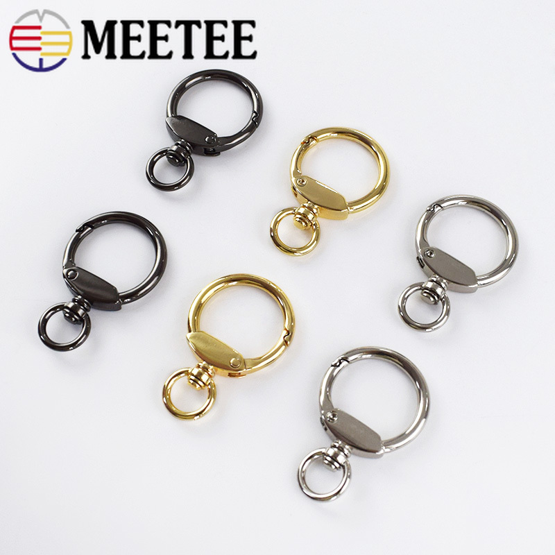 Meetee 5pcs 23mm Metal Hook Keychain Buckle Spring Key O Ring DIY Bag Decoration Hanging Jewelry Crafts Accessories BF029