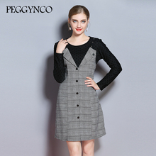 Фотография  PEGGYNCO XL-5XL Plus Size Women Black Patchwork Two Pieces Dress 2017 Autumn O-neck Long Sleeve Casual Loose Dres MY2017167
