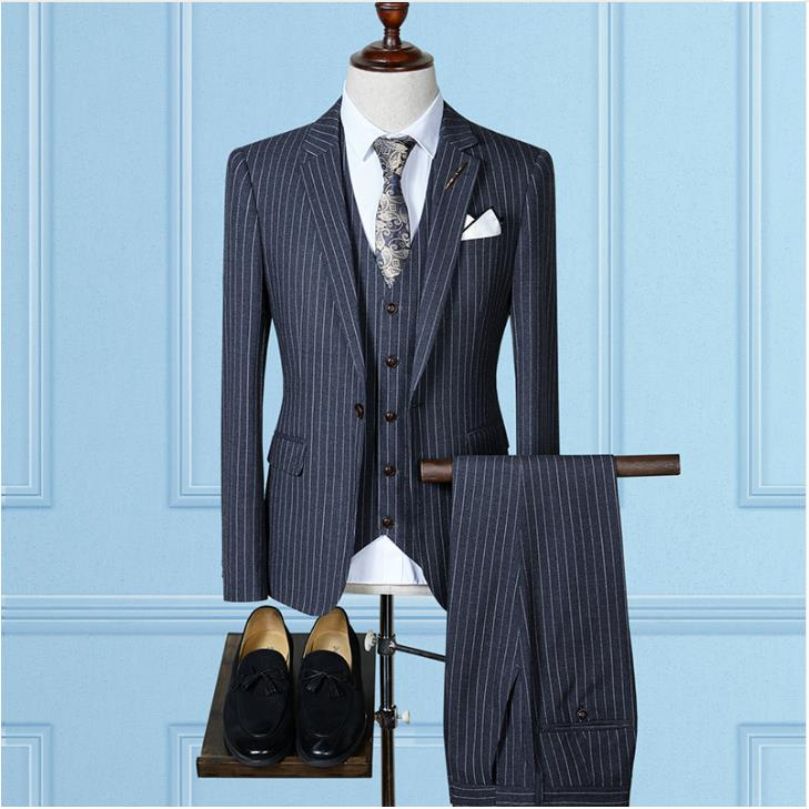 Trajes De Hombre Suit Men Causal Woolen Grid Men's Suis,Wedding Dress Men's Business Suits (Jacket+Vest+Pants) Terno Masculin