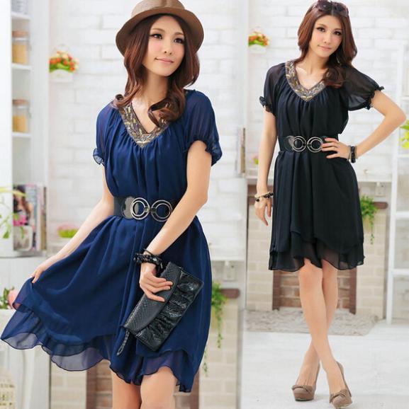Beaded V Neck Dress Xxxxl Plus Size Women Clothing 2014 Summer Short