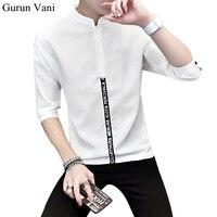 2017 New Men S Polyester Three Quarter Sleeve T Shirts Fashion Print Mandarin Collar Slim Fit