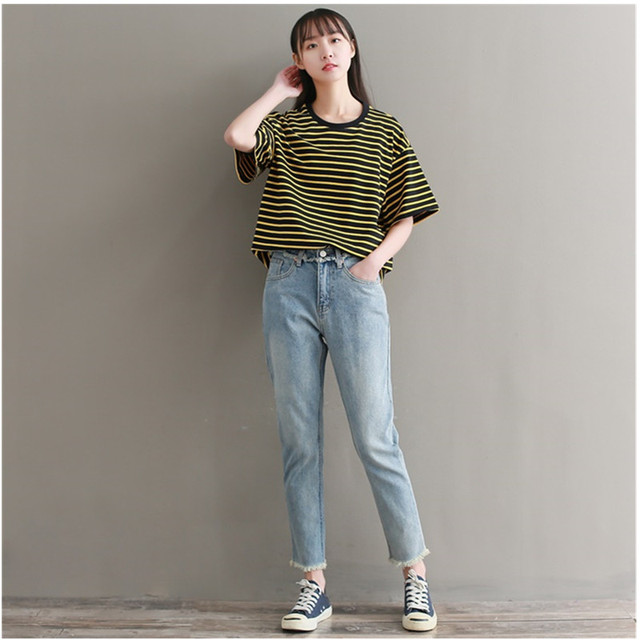 88c0278e73cf9 New fashion Plus size women straight jeans pants Big yards loose BF wind  straight boyfriend jeans female woman pants 3XL