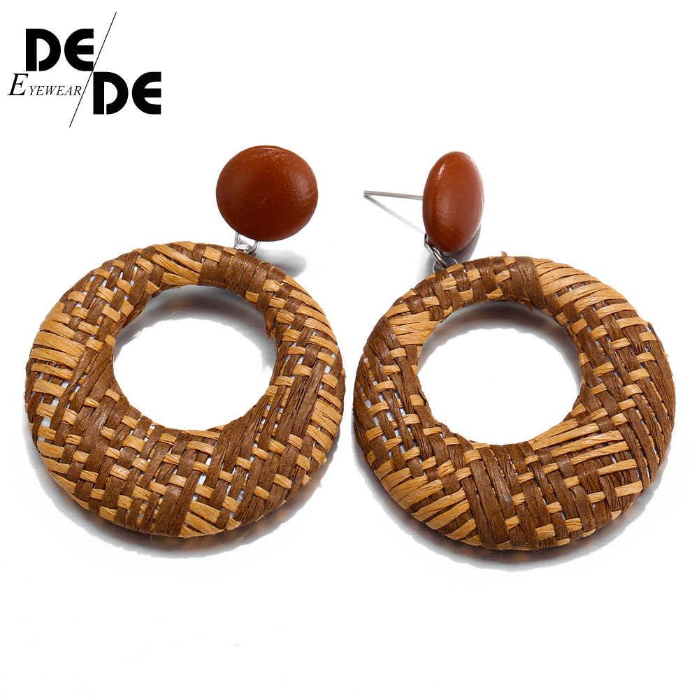 โบฮีเมียหวายสานถัก Drop ต่างหูสำหรับผู้หญิงเรขาคณิตรอบแฟชั่นต่างหู Dangle Pendientes เครื่องประดับ