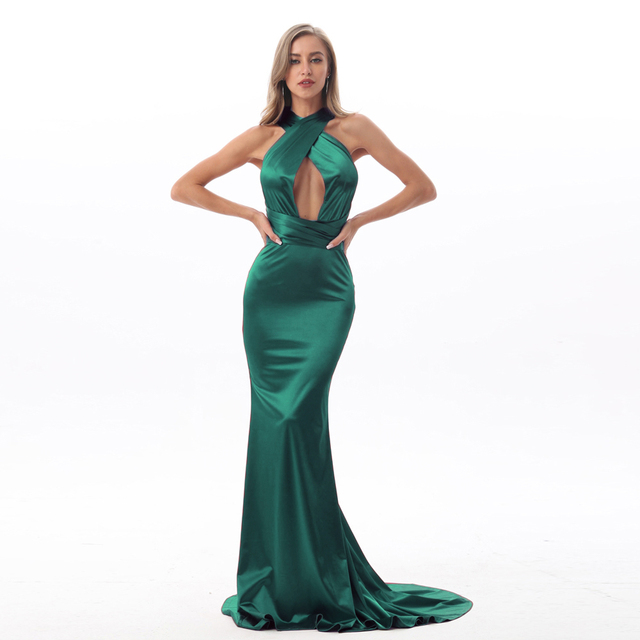 2019 Sexy Mermaid Satin Dresses Floor Length Evening Party Dress Hollow Out DIY Straps Bodycon Backless Evening Gown Dress 3