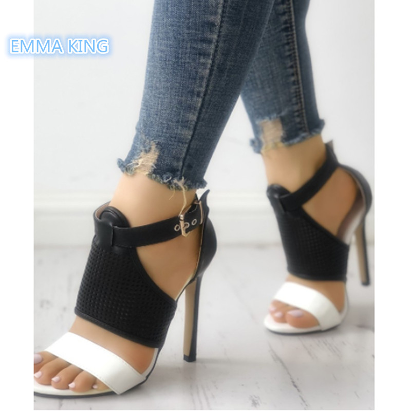 Women's Shoes Lovely Contrast Color Buckled Strap Thin Heeled Sandals Open Toe Mesh Cut-outs Leather Dress High Heels Stiletto Woman Pumps Shoes