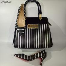 WENZHAN Luxury Black and white stripes 7-10-12CM Heels Shoes Sexy Pointed  Office Lady Use Match Fashion Big Size Handbag 079-20 b5f3b077a57b