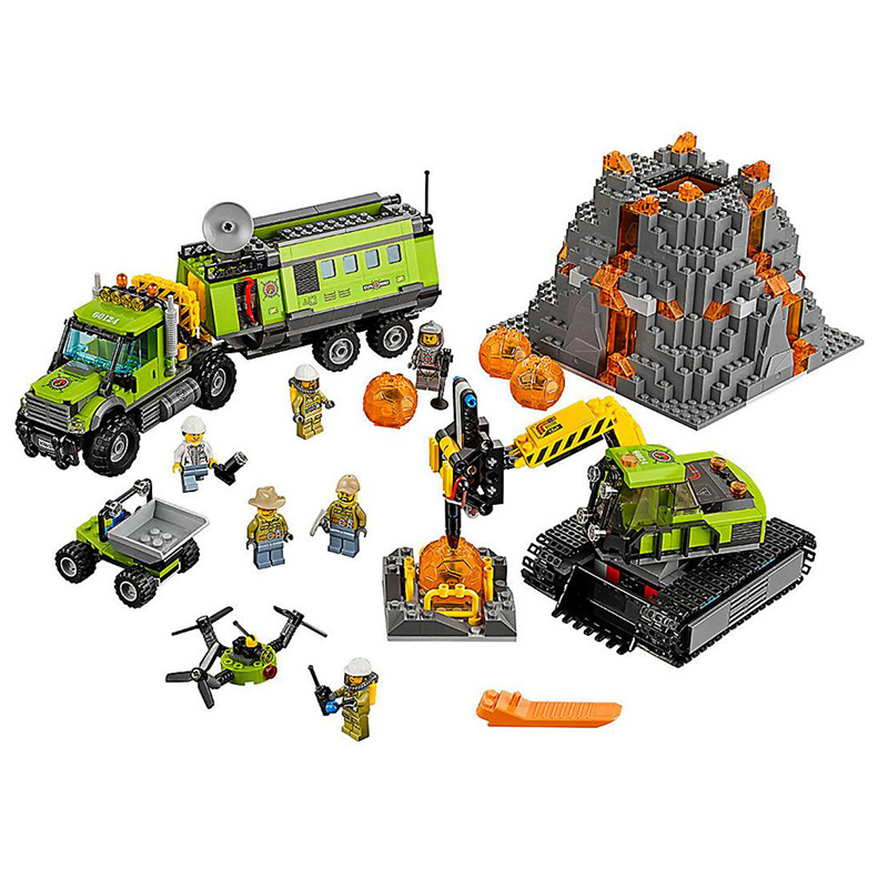 Bela 10641 City Series Volcano Exploration Base 60124 Geological Prospecting Building Block 880pcs Bricks Toys lepin 02005 volcano exploration base building bricks toys for children game model car gift compatible with decool 60124