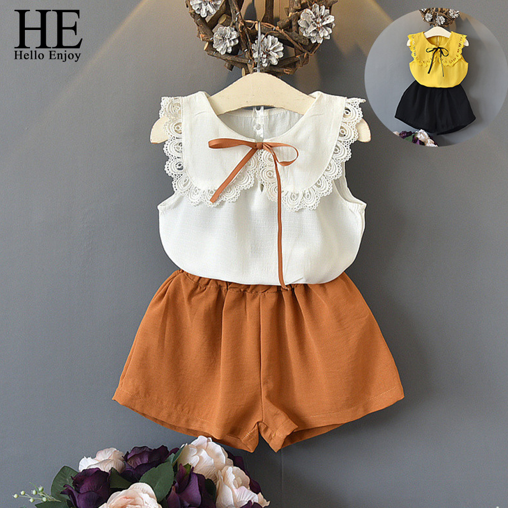 HE Hello Enjoy Toddler Clothes Sleeveless Lace Bow Tops+Shorts Outfits Summer Clothing 2018 Kids Girls Clothes Set Outfit cute infant bbay girls plaid short pants clothes sets sleeveless tops scarf 3pcs outfit summer kids clothing set