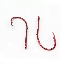 100Pcs/Lot Double barb fishing hook Fishhook red covering fishing stainless steel hooks Size 1#-12# Fish Carp Fishing Hooks