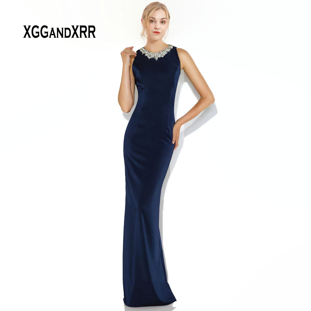 Navy Blue Sheath Long Mother of Bride Dresses 2019 Jersey Mother Dress Beading Formal Evening Gown vestido de madrinha Plus Size