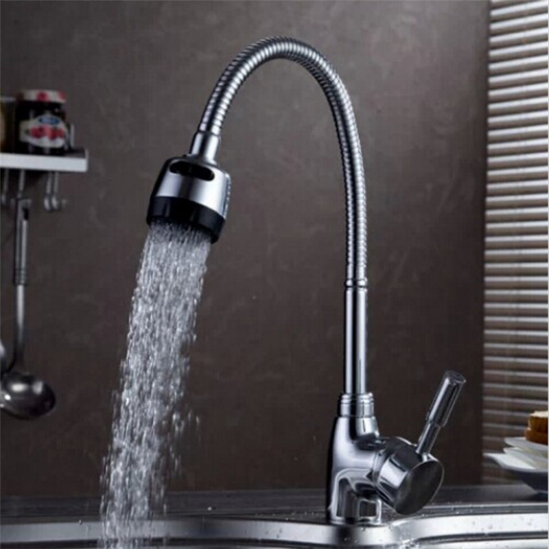 Flexible Kitchen Faucet: Flexible Pipe Stream Sprayer Kitchen Faucet Deck Mounted