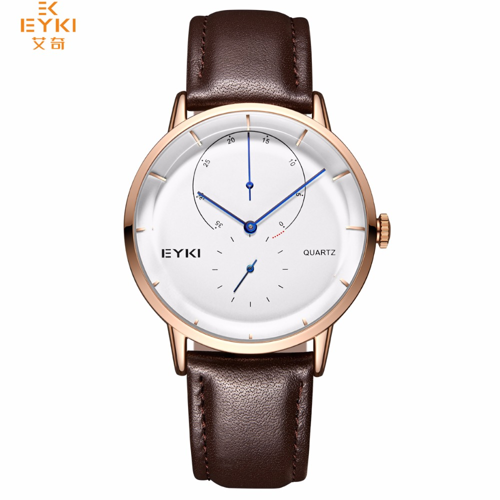 EYKI Men s Business Watch 30m Waterproof Simple Dials Face Design Leather Strap Fashion Hands Top