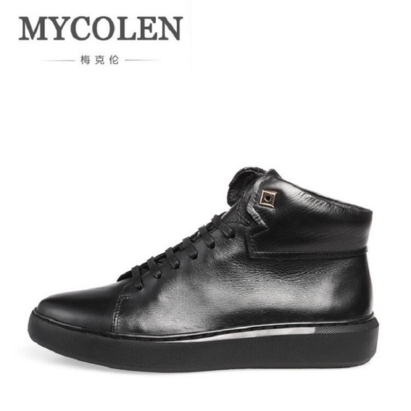 MYCOLEN New Fashion Men Boots High Top Men Ankle Boots Lace Up Breathable Leather Boots Casual Round Toe Rivet Men Shoes mycolen high quality men white leather shoes fashion high top men s casual shoes breathable man lace up brand shoes