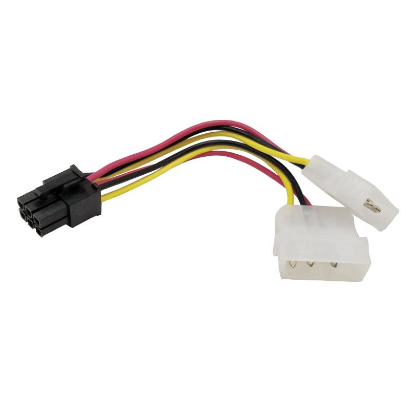 2x Power Converter Adapter Connector Cable Molex to PCI-E 6 Pin Dual 4 Pin