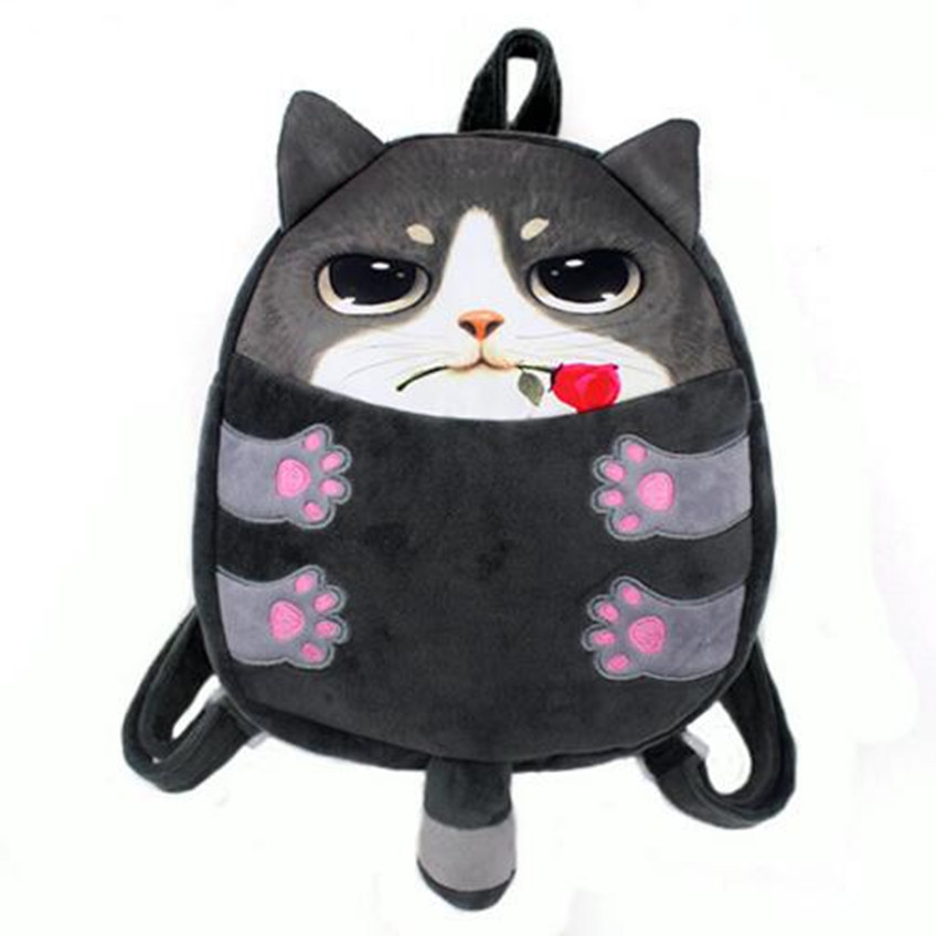 M340 2017Cute Children Backpack Small Tail Meow Star Dog Plush Children 3D Cat Soft Children Bags Backpacks Small Size Women Bag in vitro activities of asparagus racemosus root extracts