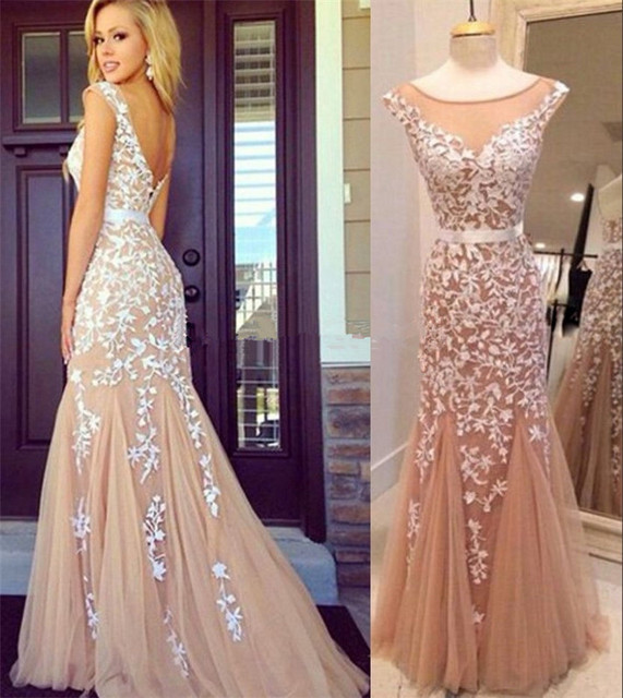 4433f44c18a Sexy Backless Appliques Lace Tulle Champagne Prom Dresses 2015 New Arrival  Women Mermaid Long Evening Dresses Formal Gowns Cheap