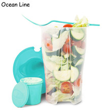 Portable Salad Serving Lunch Cup with Dressing Container Shaker and Fork Vegetable and Fruit Storage Use for Picnic Plastic