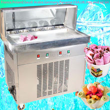 free ship Fried Ice Cream Machine 70CM Single square Pan Ice Cream Roll Machine with Salad Fruits Workbench 5pcs Cooling Tanks