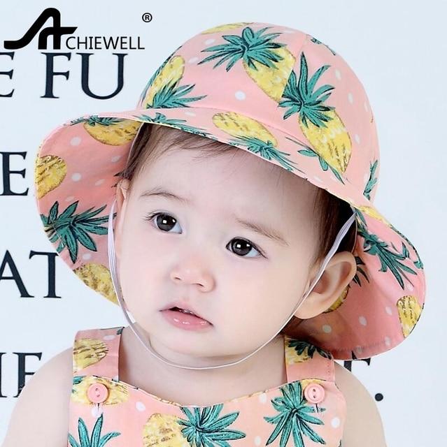 4f1a55f8e51 ACHIEWELL Children Pineapple Printed Bucket Hats Summer Beach Sun Hats For  Boys Girls 12-24 Months Babies