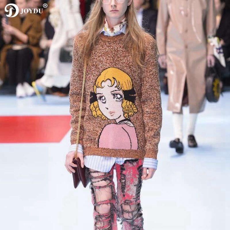 JOYDU 2018 piste épais chaud hiver tricoté pull femmes laine pull dessin animé fille motif couleur mélange mode mignon chandails