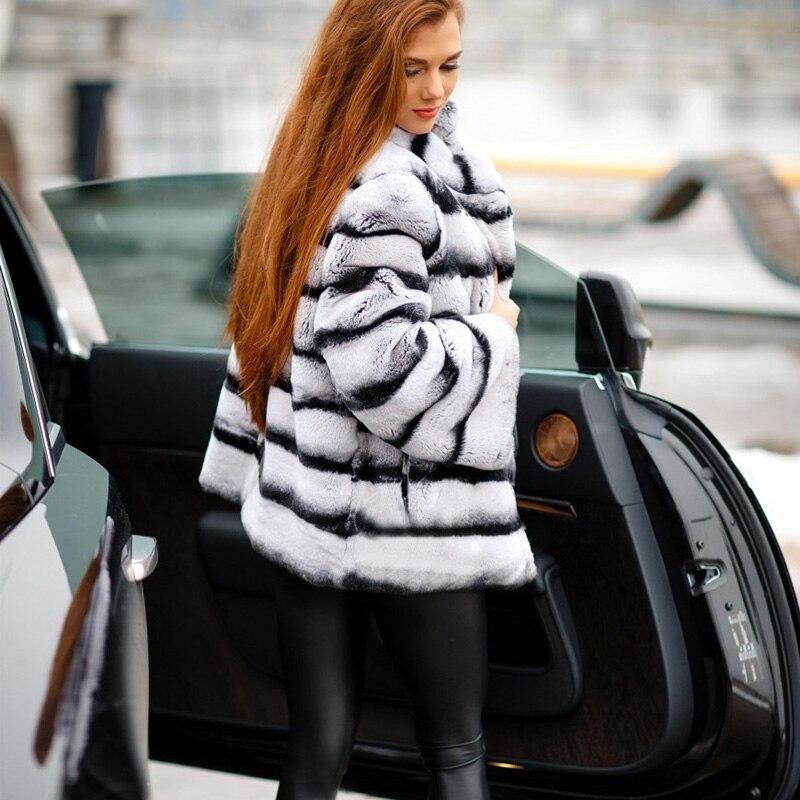 Stylish Rex Rabbit Fur Ladies Real Fur Coat Genuine Leather Jackets Womens Coats 2019 Winter Fashion Slim Park With Natural Fur