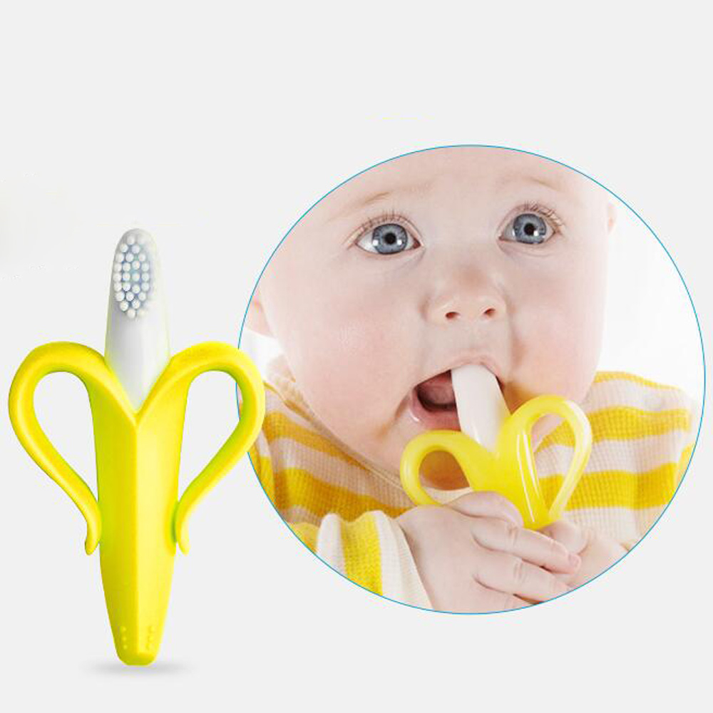 Baby Teether Silicone Teether Baby Safe BPA Free Banana Toothbrush Teethers For Teeth Infant Dental Care Gifts Child Chew Toys