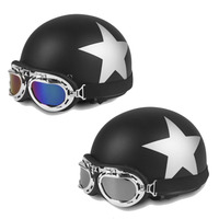 New Star Pattern Open Face Motorcycle Half Helmet For 54 59cm Head Circumference With Goggles Visor