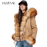 JAZZEVAR новые женские Модные роскошный большой натуральным лисьим меховой воротник манжеты пальто с капюшоном короткие парки верхняя одежда