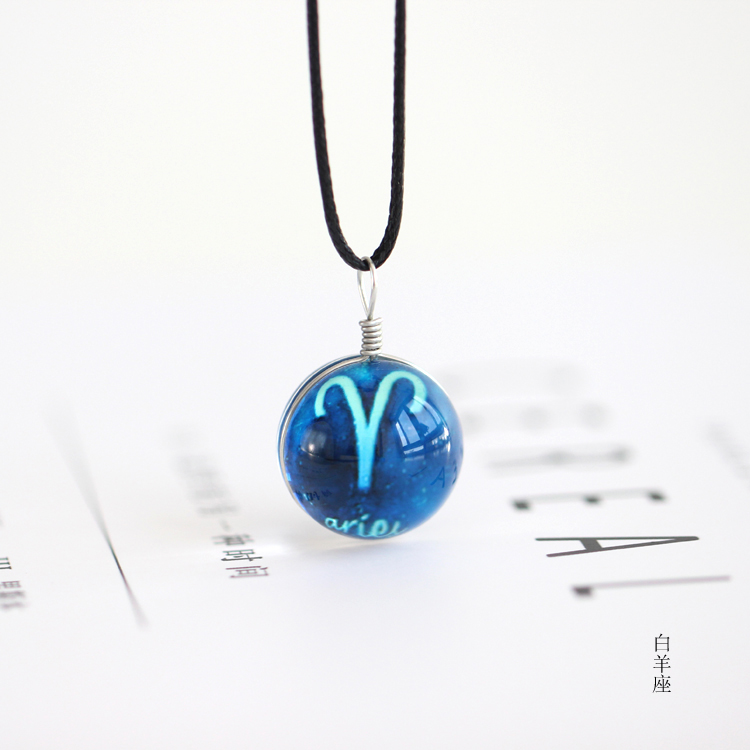 Signs of The Zodiac Necklaces for Women Men Jewelry Blue Constellations Necklace Pendants Glass Ball Fashion Jewelry Girl Gifts