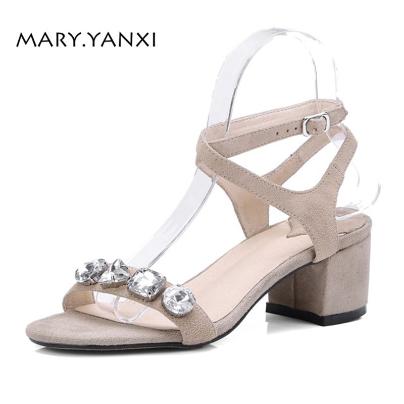 Women Sandals Big Size Shoes Genuine Leather Crystal Flock Nubuck Buckle Strap Fashion Casual Solid Ankle Strap Square High Heel xiaying smile summer woman sandals casual fashion women pumps square cover heel buckle strap flock rubber student women shoes