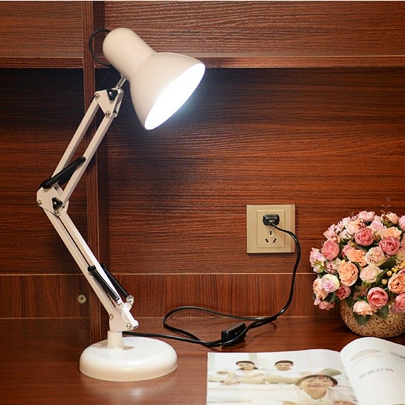 ФОТО Led Table Lamp Iron Morden American Foldable Long-Arm Desk Lamp Reading Lamp E27 110V 220V Clip Office Lamp