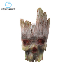 Strongwell Skull Flower Pot Tree People Pvc Home Decoration Accessories Modern Countertop Decoration Skull Vase Sculpture Crafts za new bird shaped colorful rhinestone metal long dangle drop earrings fine crystals chain tassels jewelry accessories for women