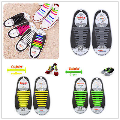 16pcs//Pair Adult Lazy Elastic No Tie Shoelaces Free Tying Silicone Easy Shoelace