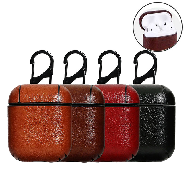 Earphone Case For Apple Airpod, Genuine Leather with Button