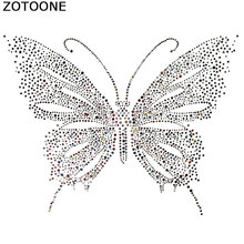ZOTOONE Super Bright Butterfly Rhinestones Crystal Clear Hotfix Rhinestone Applique for Clothes Decoration Needlework E