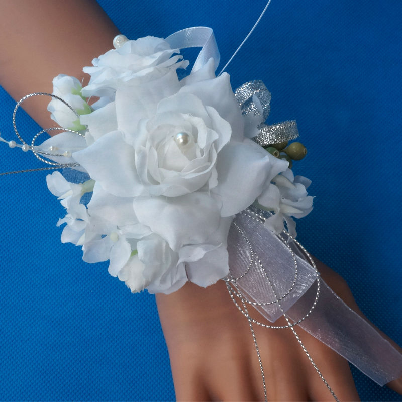 2019 Latest Design 1pc Handcrafted Wrist Corsage Bracelet Artificial Silk Rose Flowers For Wedding Hand Flower Bouquet For Bride Event Supplies Health & Beauty