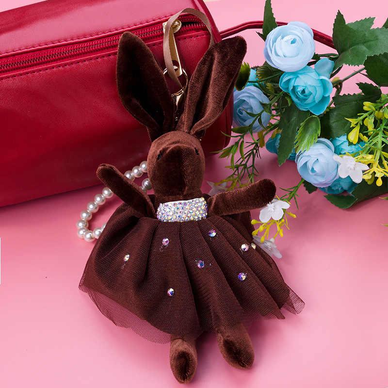 Милая лента с бантом, большая Ушная ткань, брелок с изображением кролика, брелок для ключей, сумка, подвеска, подвески-сумочки, подарок Porte Clef
