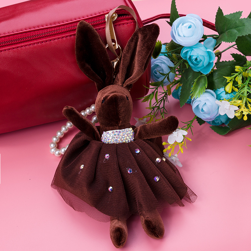 Cute Crystal Ribbon Bow Big Ear Fabric Animal Rabbit Keychain Keyring Keyholder Bag Pendant Handbag Charms Porte Clef Gift Loved in Key Chains from Jewelry Accessories