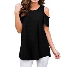 Women Summer T-Shirt 2019 Casual Loose Short Sleeve Off Shoulder T-Shirts Sexy O-Neck Solid Tee Shirt Ladies Tops Plus Size 2XL купить дешево онлайн
