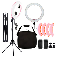 Gold Photo Studio Ring Light  18 inch LED Video Lamp Photographic Lighting 55W 5500K 480LED Digital Lights yidoblo pink fd 480ii studio ring light 480 led video light digital lamp photographic day lighting light standing ma 280cm