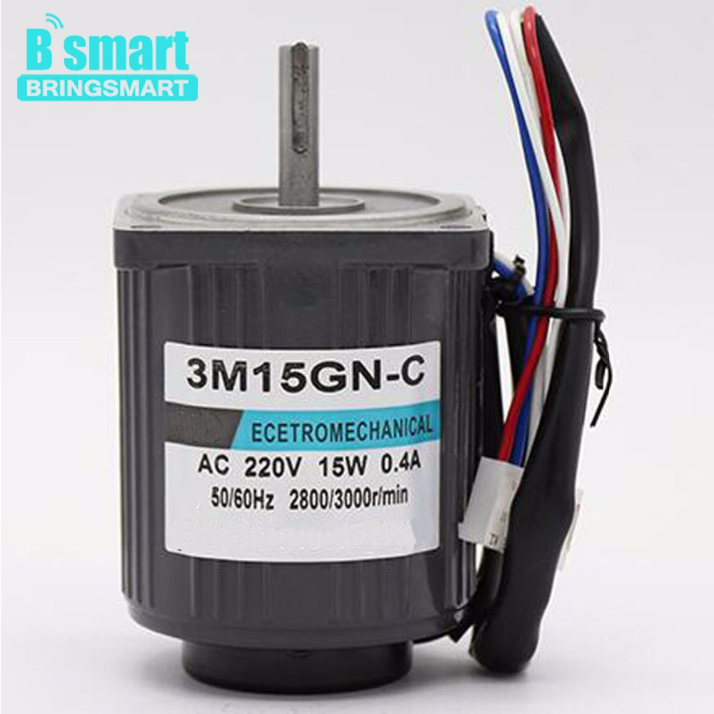 Bringsmart 3M15GN-C AC motor 220V 15W Optical Axis High Speed 1400rpm Mini Reversible Regulation with Speed Controller electric bringsmart 60w ac speed regulating motor 220v miniature optical axis motors 1400 1700 rpm high speed motor with speed governor