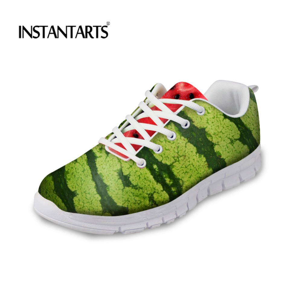 Shoes Humor Instantarts Novelty Fruits Watermelon Printed Women Swing Platform Shoes Casual Lacing Flats Female Breathable Slimming Shoes Attractive Fashion
