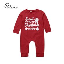 8746d5810ee Pucoco 2018 Christmas Newborn Baby Boy Girls Romper Letter Red Long Sleeve  Jumpsuit Autumn Cotton Clothes Outfits Costume 0-24M