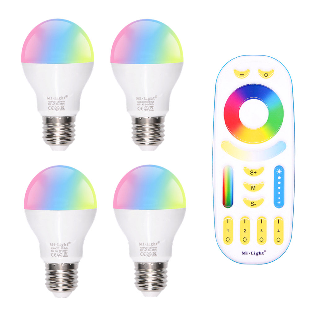 LED lamp E27 6W RGB + CCT Mi Light LED bulb AC 85V-265V 2.4G RF Wifi Remote Control Smart Bulb Night Atmosphere lighting e27 6w 6 led 540 lumen 6000k white light bulb 85 265v ac