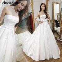 New Arrival Backless A Line Wedding Dress Strapless Vestido De Novia Vintage White Satin Wedding Gowns